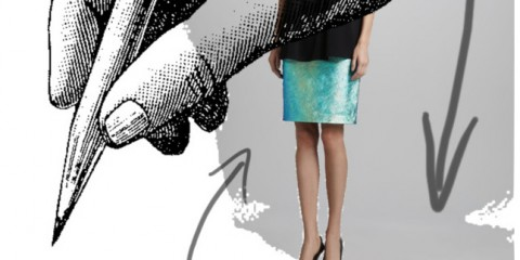 Milly iridescent pencil skirt
