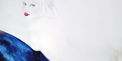 Detail of face of Amanda Manitach self portrait
