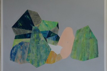 Obscured figure among faceted rocks painted by Tereshina
