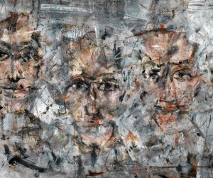 """""""Spectators"""" by Rein de Lege. 23"""" x 51"""". Image courtesy of the artist and Hall Spassov Gallery."""