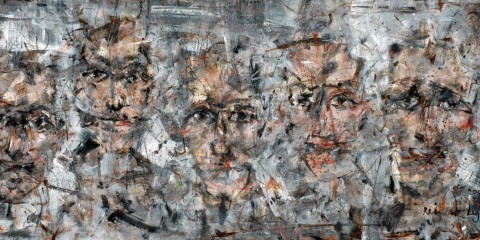 """Spectators"" by Rein de Lege. 23"" x 51"". Image courtesy of the artist and Hall Spassov Gallery."