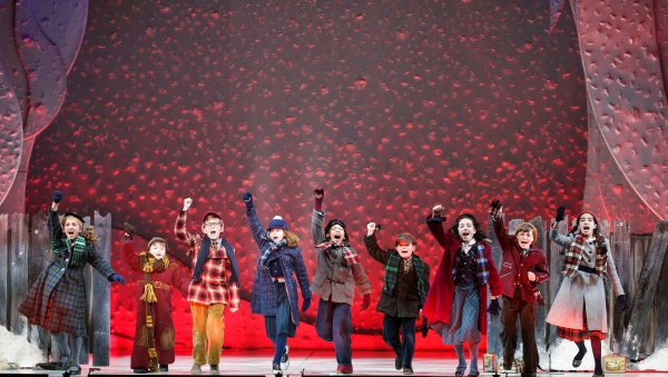 The children's ensemble of A Christmas Story, The Musical at The 5th Avenue Theatre. Photo Credit: Mark Kitaoka