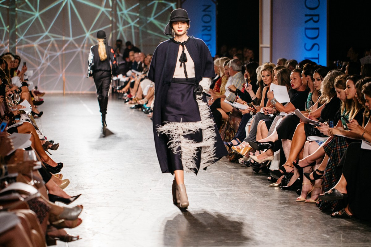 Lanvin Navy Cape and Feather Skirt