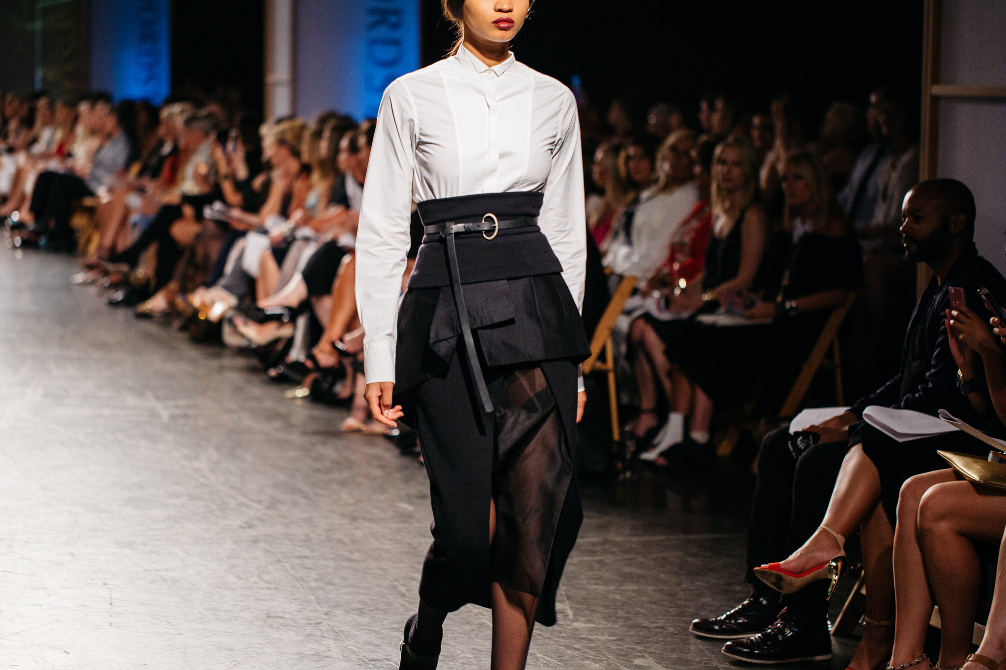 Donna Karan High Collar Blouse and Sheer Paneled Skirt