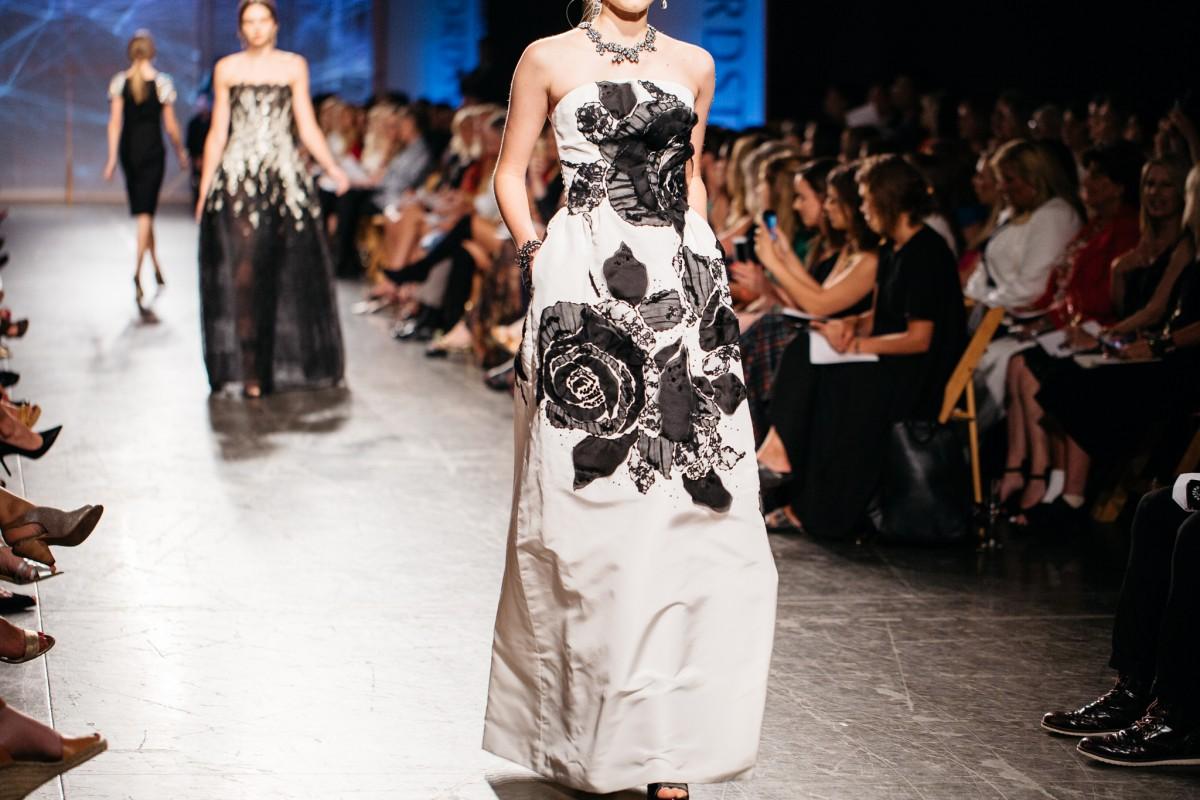 Oscar de la Renta Gown with Floral Lace Embroidery