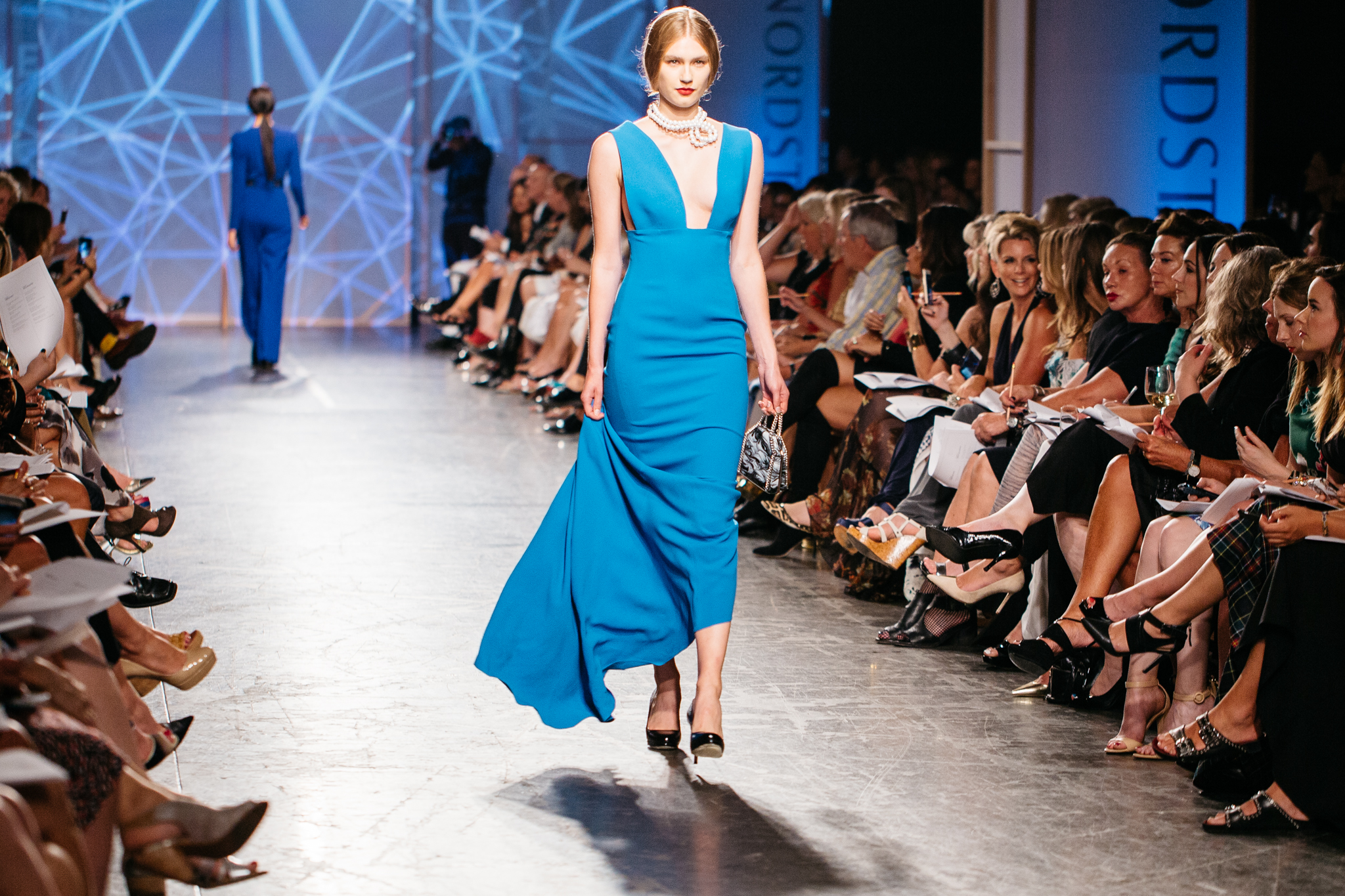 Stella McCartney Cerulean Gown with Twisted Pearl Necklace