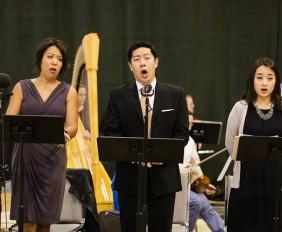 Nina Yoshida Nelsen, mezzo-soprano; Adam Lau, bass; and Hae Ji Chang, soprano. Still from the workshop for An American Dream. Photo by Brandon Patoc.