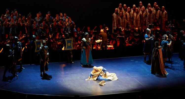 """Cast and orchestra of Seattle Opera's """"Nabucco."""" Photo by Philip Newton."""
