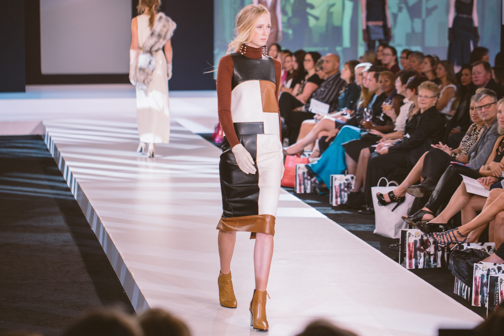 Varsha Color Blocked Top + Skirt at Independent Designer Runway Show 2015. Photo by Jed Sarmiento.
