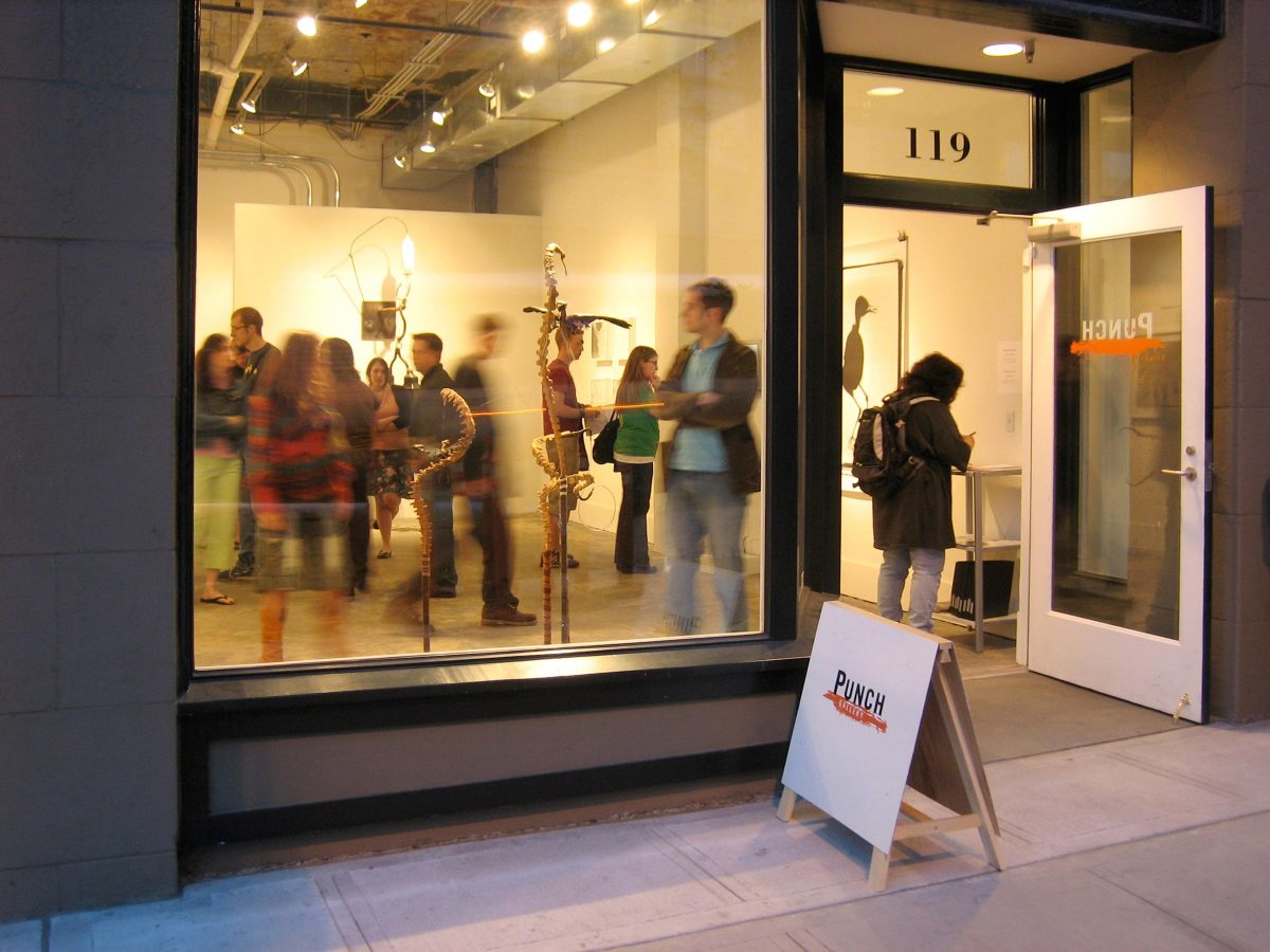 PUNCH gallery during First Thursday Art Walk in Pioneer Square