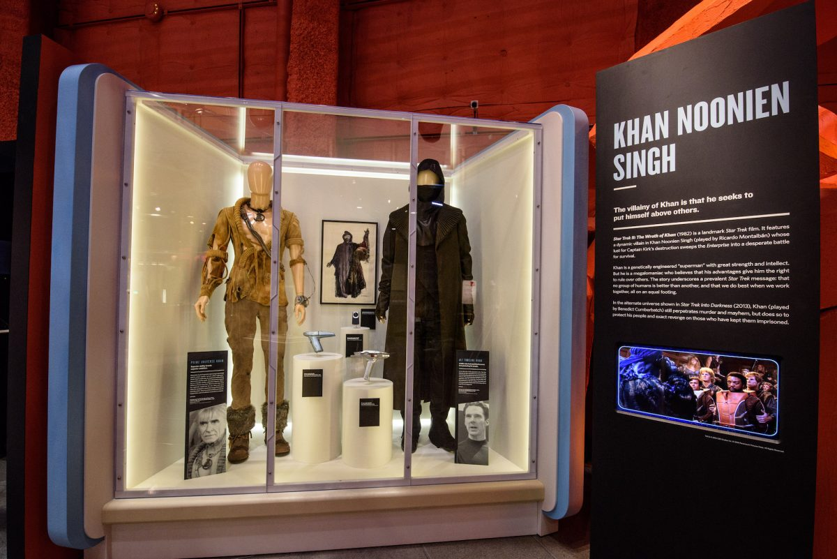 Khan's original costume alongside the one worn by Benedict Cumberbach in Star Trek: Into Darkness. Photo by Brady Harvey.