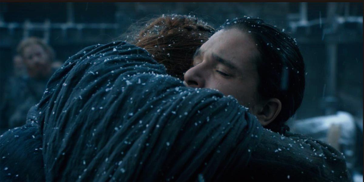 """Jon Snow and Sansa Stark embrace in """"Book of the Stranger."""""""