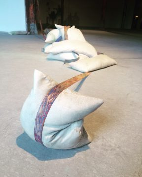 Francesca Lohmann and Ben Dunn. Untitled, 2016. Birch and Walnut edge banding, sand bags, clamps with mixed media. Photo: David Strand