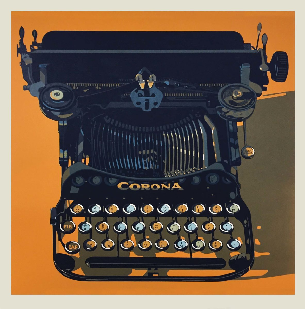 CORONA typewriter woodcut print by Robert Cottingham.