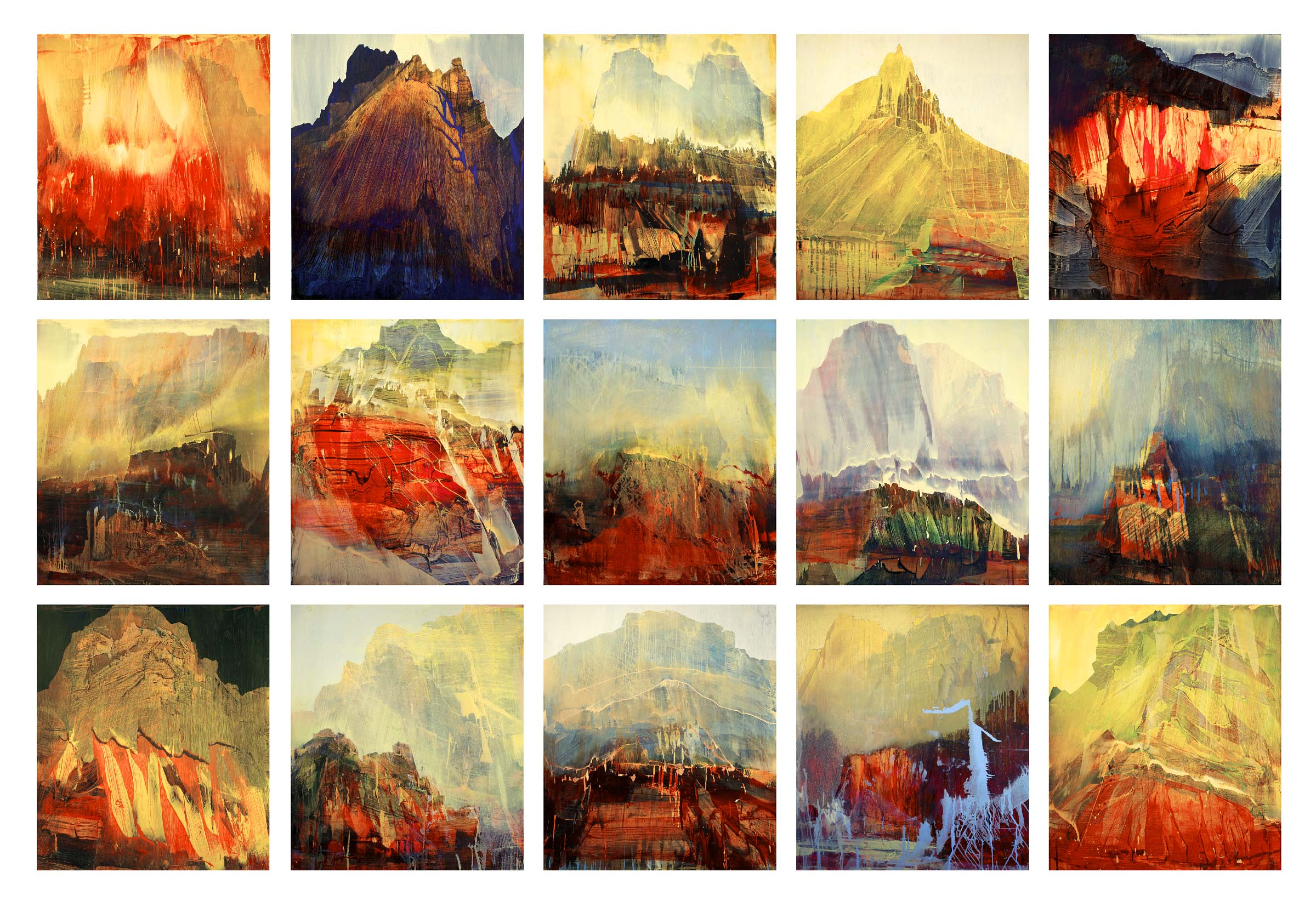 """""""Tiichum"""" by James Lavadour, 2013, oil on panel. (15 panels) 102"""" x 152"""" x 2"""""""