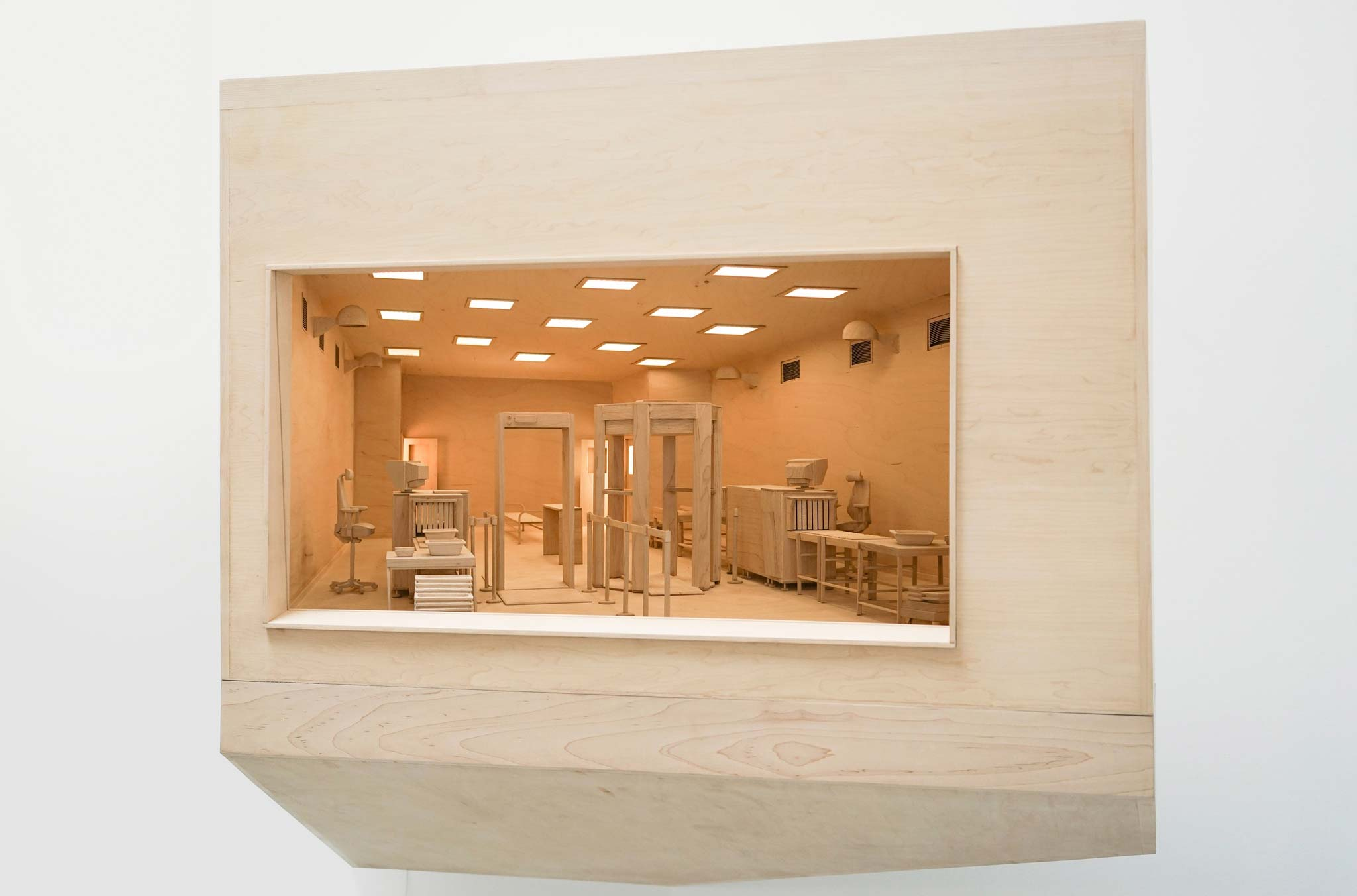 "Maquette for Checkpoint by Roxy Paine. 2013, maple, birch, fluorescent lamps, glass, 42"" x 52"" x 32"". Image courtesy of Paul Kasmin Gallery."
