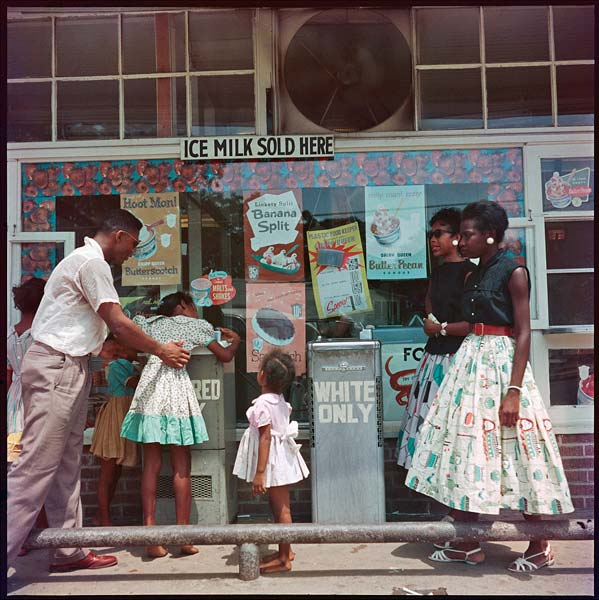 """Segregated Drinking Fountain, Mobile, Alabama, 1956"" by Gordon Parks, pigment print."