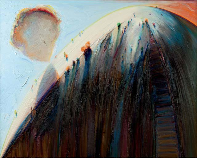 """""""White Mountain,"""" by Wayne Thiebaud, 1995, Oil on canvas. 48 X 60 in. Image courtesy of Allan Stone Projects, New York"""