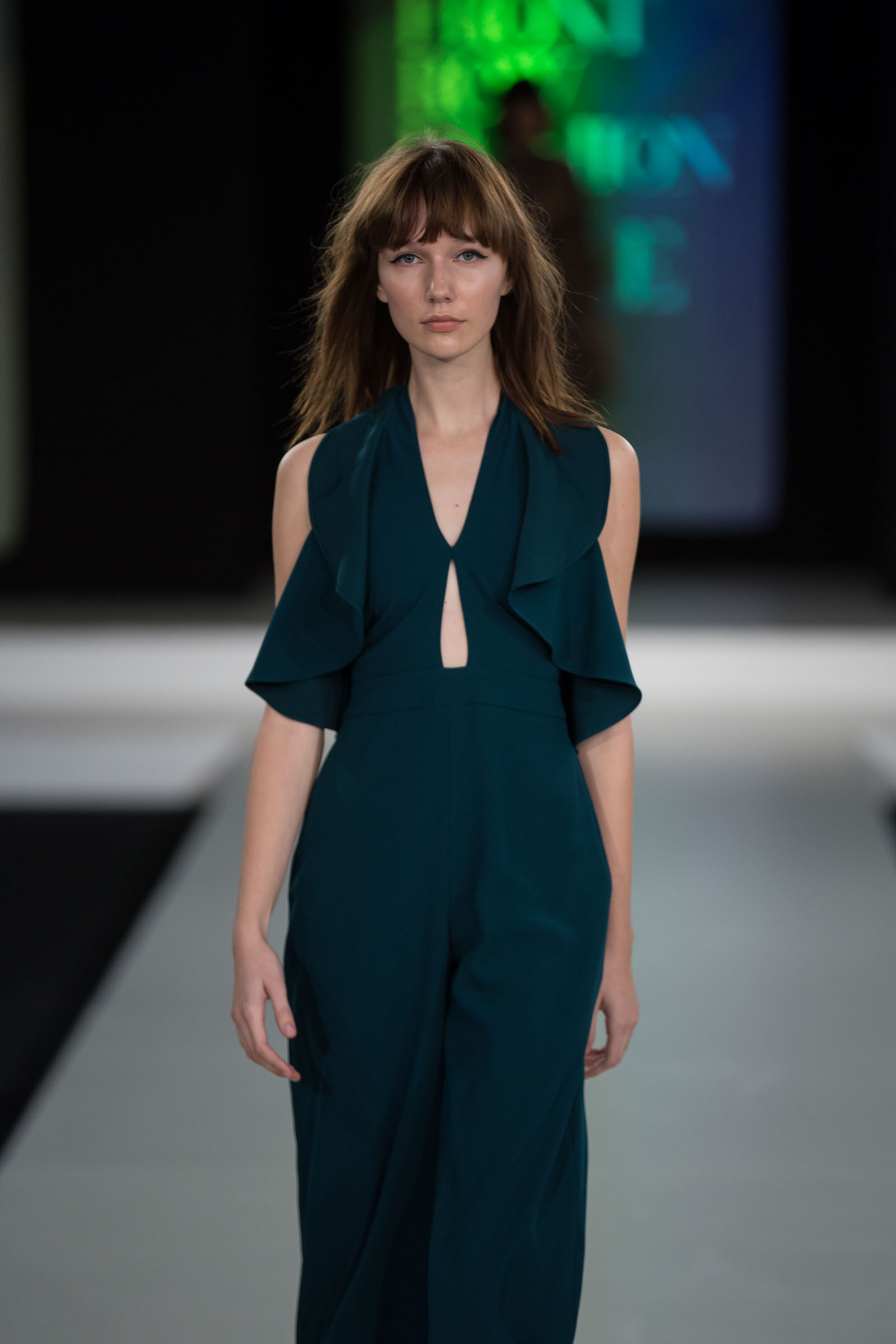 Zara green ruffle jumpsuit
