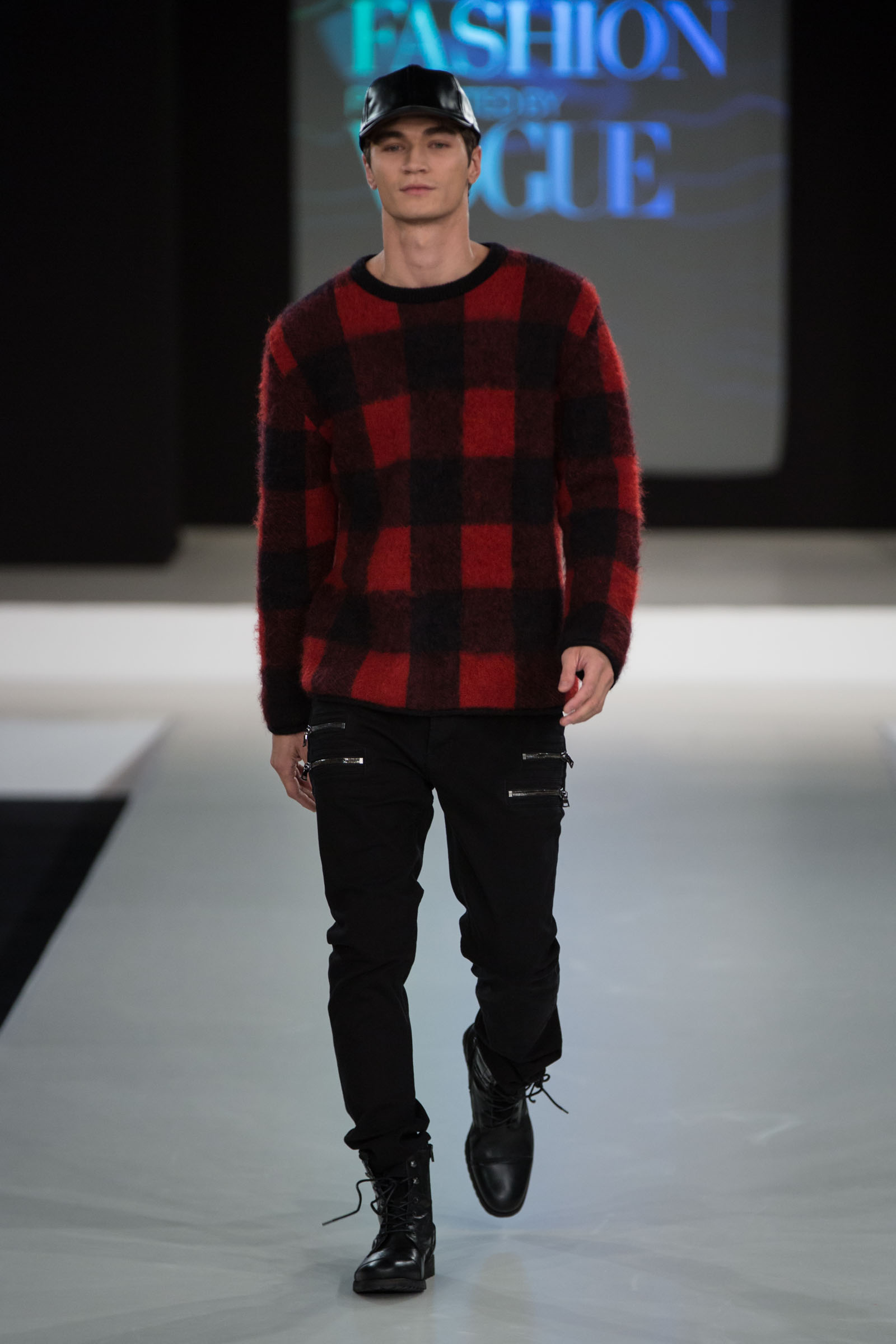 Valentino plaid sweater, Hudson Jeans and PB baseball cap from Nordstrom, Also combat boots