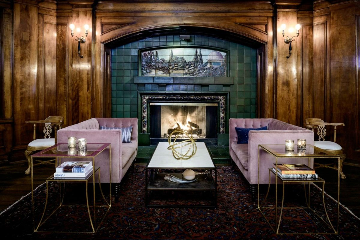 Rookwood Pottery Fireplace in Hotel Sorrento's Fireside Lounge. Image courtesy of Hotel Sorrento.