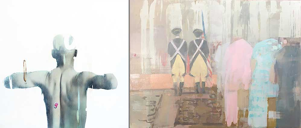 "(L) Wendelin Wolgemuth, ""Man's Back."" (r) Justin Duffus, ""Service."" Images courtesy of Linda Hodges Gallery."