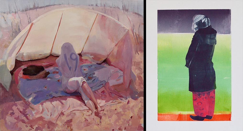 Paintings by Justin Duffus and Klara Glosova