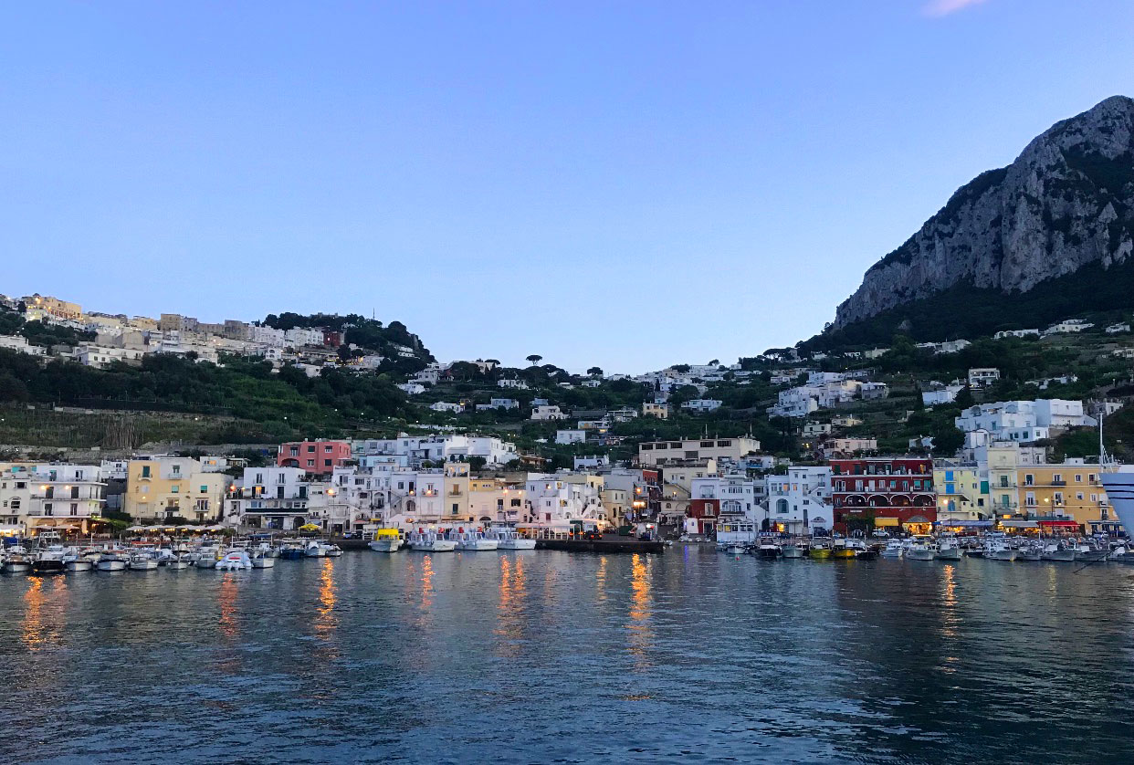 A twilight view of Capri from the ferry