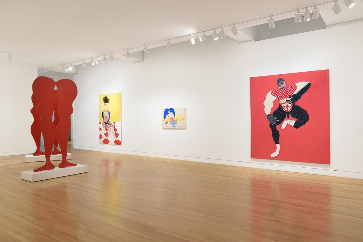 Installation view of Tschabalala Self's solo exhibit at The Frye Art Museum