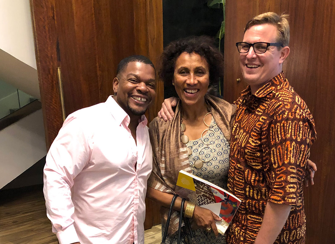 Artis Kehinde Wiley, Aissa Dione and Scott Andresen get close at the opening party for Black Rock Senegal